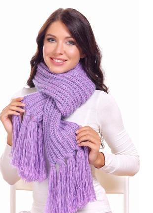 Тёплый пудрово-лавандовый шарф