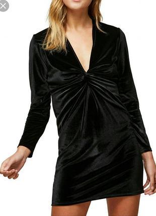 Крутое вечернее бархатное платье мини длинный рукав petite