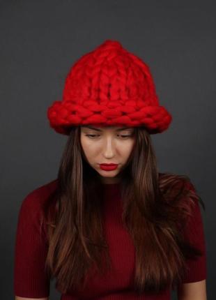 Шапка крупной вязки, вязаная шапка, шапка крупной вязки хельсинки ❄ меринос
