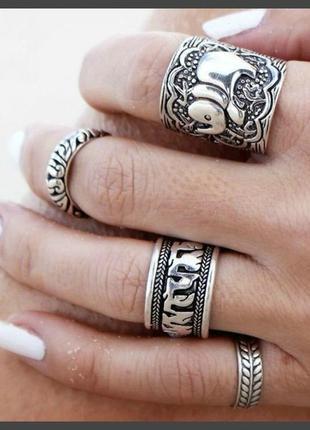 Набор колец кольца на фаланги индийский слон бохо