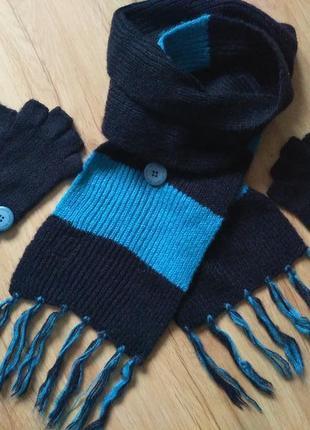 Шарф и перчатки шерсть 100%