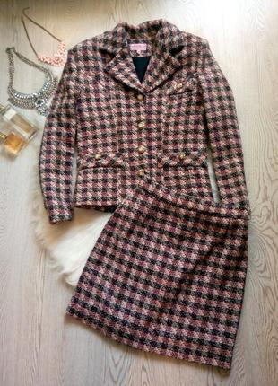 Теплый костюм в клетку пиджак с короткой юбкой под шанель розовый черный как букле