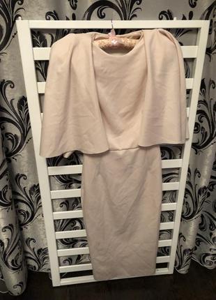 Распродажа 🔥 вечернее шикарное бежевое платье миди облегающее от asos размер s