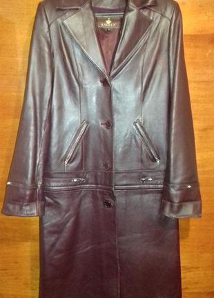 Кожаный плащ-куртка , размер м