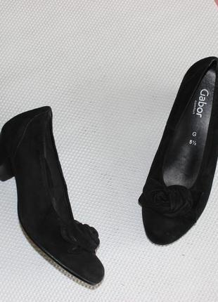 38,5 25см gabor замшевые туфли на каблуке кожаные