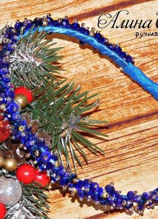 Обруч с бусинами цвет синий