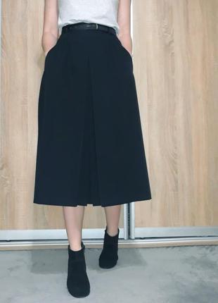 Шикарная шерстяная юбка на высокой посадке с драпировкой италия