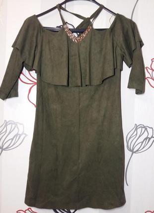 Замшевое платье poliit p.36 цвет хаки