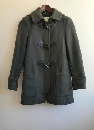 Коричневое пальто с капюшоном massimo dutti оригинал