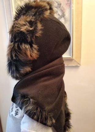 Теплый флисовый шарф худи
