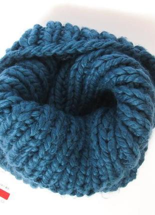 Фирменный тёплый вязаный снуд,шарф,хомут, крупная вязка c&a