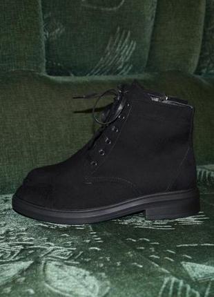 Последний размер! качественные зимние ботинки из натуральной замши.