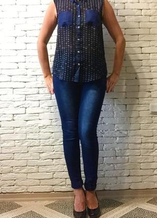 Блуза с джинсовой отделкой