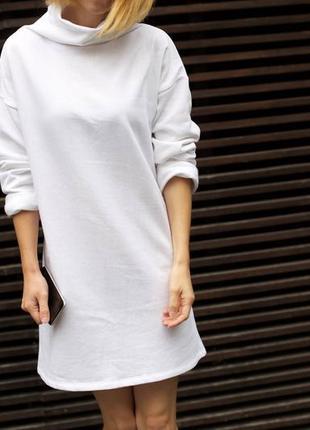Теплое платье, белое платье, флис, байка, на флисе, зимнее платье, теплая туника