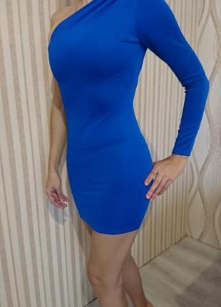 Красивое синее платье, ассиметричное, boohoo.