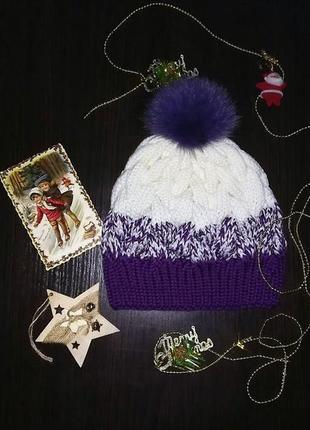Зимняя шапка с косами