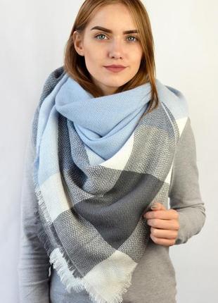 Теплый шарф плед платок в клетку голубой