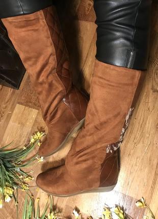 Эффектные коричневые зимние сапоги с вышивкой