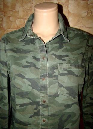 Камуфляжная рубашка на кнопках new look р.10/38