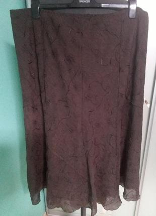 Шифоновая юбка с вышивкой и подкладкой большого 24 размера