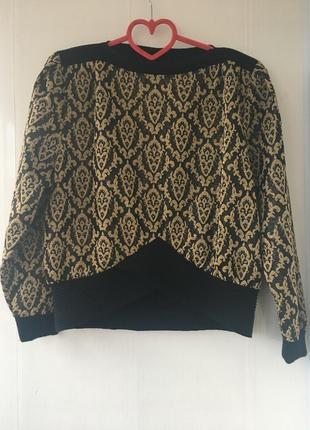Винтаж! яркий свитер топ с люрексом чёрный с золотым, оригинал pierre cardin