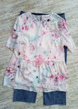 Удлинённая блуза в стиле прованс, размер 14