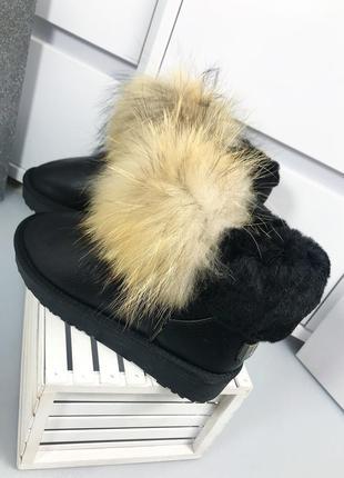Женские зимние кожаные угги с мехом енота ! в наличии