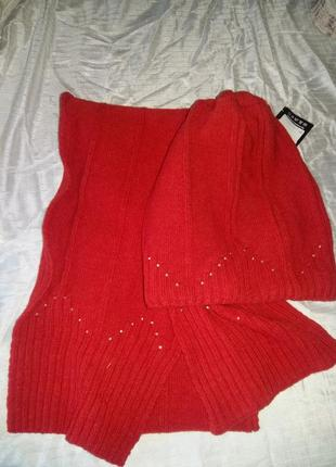 Комплект зимний шерсть ангора коралл(шапка+шарф)