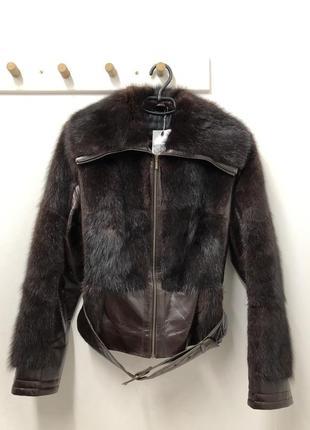 Кожаная куртка с вставками норки размер m/l