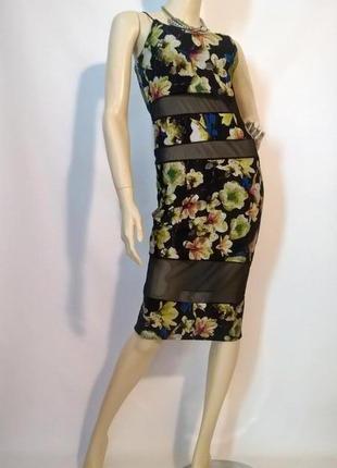 Cексуальное коктейльное платье облегающее с шифоновыми вставками