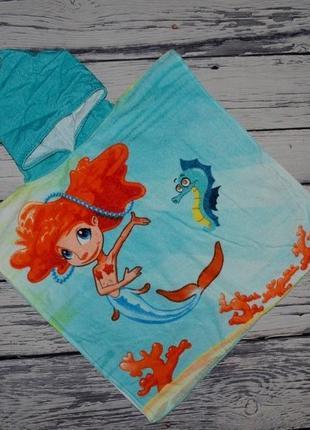 Фирменное детское полотенце пончо девочке махровое русалочка