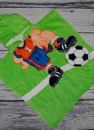 Фирменное детское полотенце пончо махровое с капюшоном футболист футбол