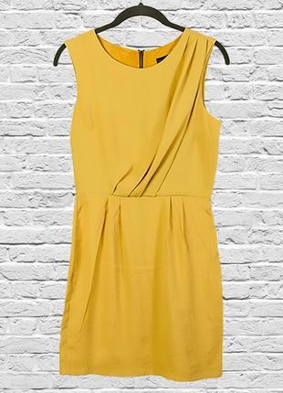 Горчичное платье короткое, коктейльное платье с замком на спине