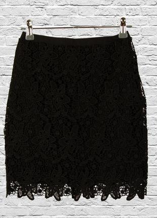 Кружевная юбка черная, короткая юбка с кружевом