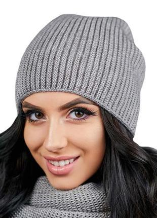 Вязаная шапка зимняя демисезонная с флисом