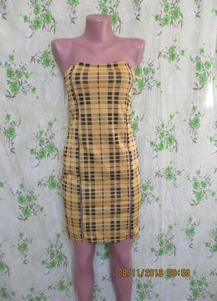 Стильное платье в клетку на молнии спереди/по фигуре