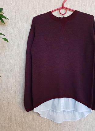 Стильный свитер, джемпер с тканевой отделкой в виде рубашки next , хлопок