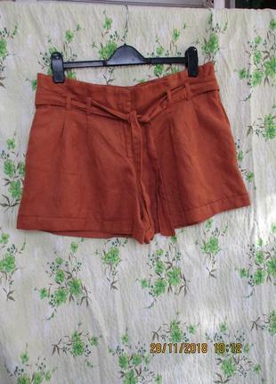 Стильные шорты замшевые со складками/с пояском/ uk 16/48-50 размер