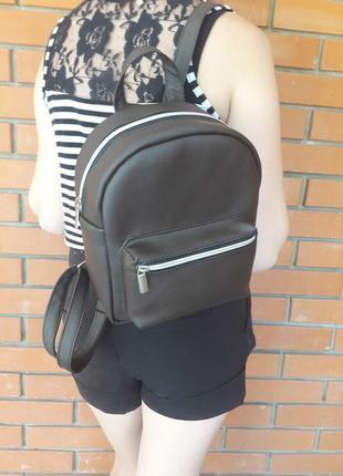 Вместительный женский рюкзак шоколадный для прогулок, учебы, спортзала