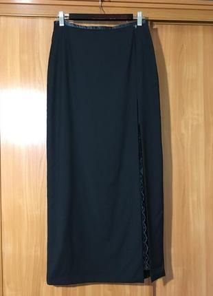 Эффектная шерстяная юбка с разрезом и кружевом!