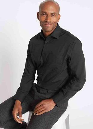 Рубашка сорочка черная офисная размер m-l от f&f