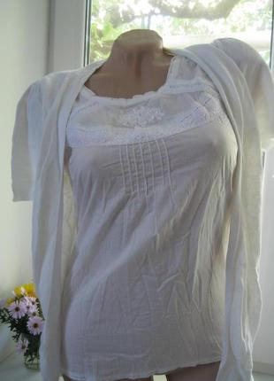 Белая блузка кофточка лен вышивка next