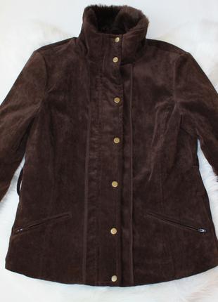 Куртка коричневая с мехом теплая под дубленку principles 14 р (к037)
