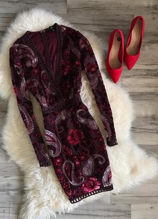Вечернее новогоднее велюровое платье asos, missguided
