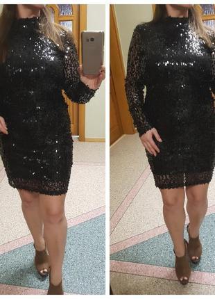 Черное короткое платье в паетках и открытой спиной boohoo