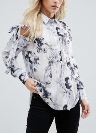 Шифоновая рубашка с мраморным узором с бантами / вырезами на плечах