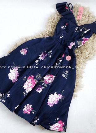 Платье миди в цветы с рюшами на плечах