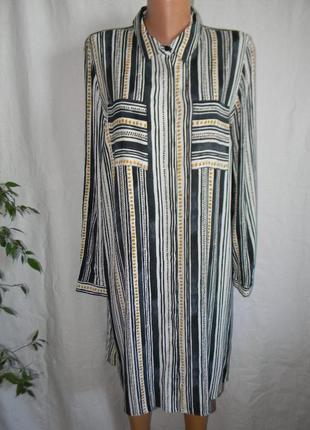 Платье-рубашка в полоску вискоза
