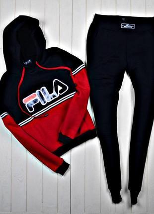 50ad18ab057d Женский спортивный костюм зимний fila на флисе черно-красный Fila ...
