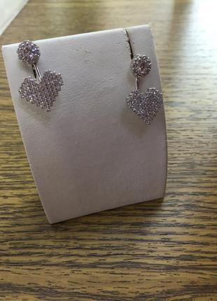 Серебряные серьги «сердце»